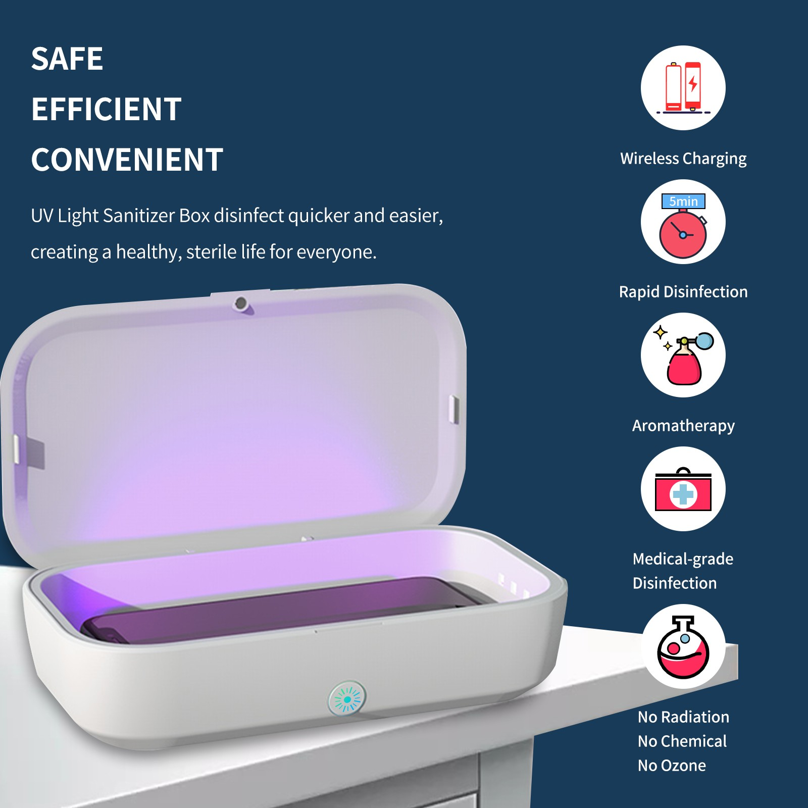 Mobile phone wireless charging disinfection box