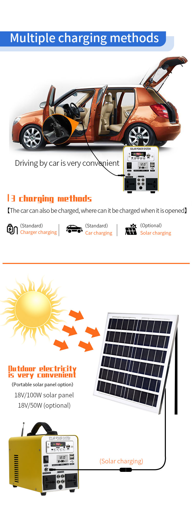 Outdoor solar energy storage mobile battery
